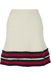 Gucci Pleated Ribbed Wool Mini Skirt Ivory
