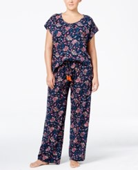 Lucky Brand Plus Size Printed Knit Pajama Set Navy Floral