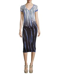 Young Fabulous And Broke Young Fabulous And Broke Short Sleeve Draped Jersey Dress Charcoal Rain Ombre
