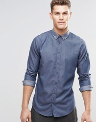 Boss Orange Shirt With Button Down In Slim Fit Navy Navy
