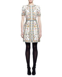 Alexander Mcqueen Obsession Print Short Sleeve Silk Dress Ivory