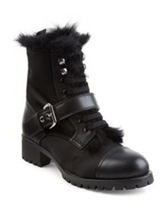 Prada Shearling Lined Leather And Nylon Booties Black