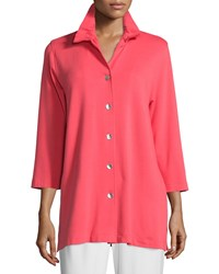Caroline Rose Bamboo Rayon Ruched Collar Shirt Petite Women's Coral Candy