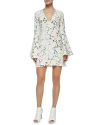 Alexis Bell Sleeve Printed Shift Dress Multi Colors