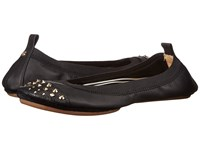 Yosi Samra Samantha Soft Leather Fold Up Flat With Fully Stud Captoe Black Black Women's Flat Shoes