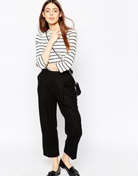 Asos Wool Touch Cropped Peg Trousers With D Rings Black