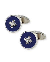 Button And Thread Cuff Links Silver Blue Men's Alfred Dunhill