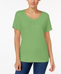Karen Scott Henley T Shirt Only At Macy's Green Meadow