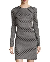 Julie Brown Morgan Long Sleeve Geometric Print Dress Black Tani