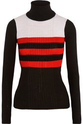 Emilio Pucci Printed Turtleneck Ribbed Wool Blend Sweater Black