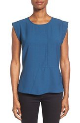 Pleione Women's Seam Detail Peplum Top Blue Wing