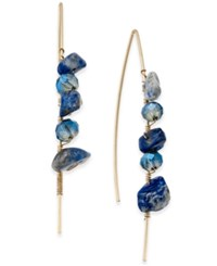 Macy's Inspired Life Multi Stone Wrapped Wire Threader Earrings Blue