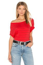 Sundry Stripes Slub Loose Tee Red
