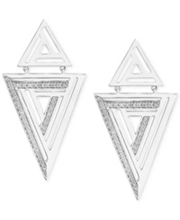 Effy Collection Effy Diamond Triangle Earrings 1 4 Ct. T.W. In Sterling Silver