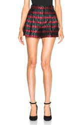 Red Valentino Cherry Printed Shorts In Black Red Metallics
