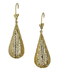 Lord And Taylor 14K Yellow Gold Textured Teardrop Earrings