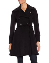 Karl Lagerfeld Fringed Long Peacoat Black