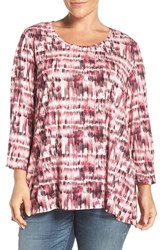 Sejour Plus Size Women's Print Three Quarter Sleeve Tee Pink Burgundy Print