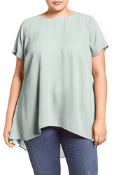Vince Camuto Plus Size Women's High Low Short Sleeve Blouse Smoke Blue