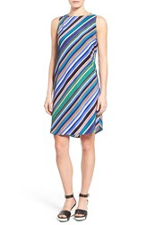 Women's Halogen Sleeveless Shift Dress Blue Black Stripe