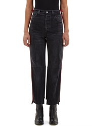 Vetements Reworked Leather Stripe Trimmed Jeans Grey
