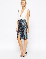Oasis Butterfly Jacquard Pencil Skirt Multiblack