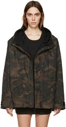 Yeezy Season 1 Brown And Green Hooded Camouflage Coat