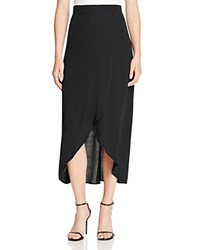 Wayf Veda Faux Wrap Midi Skirt Black