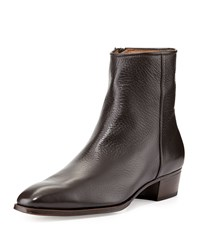 Leather Side Zip Ankle Boot Brown Gravati