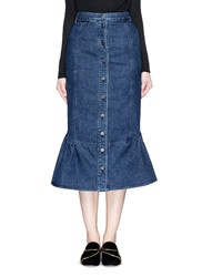 Rachel Comey 'Range' Flare Fishtail Hem Denim Skirt Blue