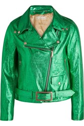 Golden Goose Chiodo Metallic Textured Leather Biker Jacket Green Metallic