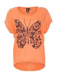 Izabel London Graphic Butterfly Print Top Coral