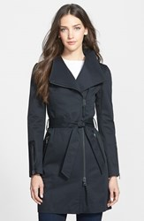 Women's Mackage Leather Trim Asymmetrical Zip Long Trench Coat Black