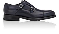 Isaia Men's Leather Double Monk Strap Shoes Navy