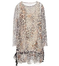 Chloe Leopard Print Cotton And Linen Blend Dress Brown