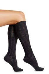 Shimera Ruffle Chain Knit Knee High Socks Gray