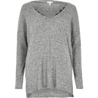 River Island Womens Grey Marl Knit Top With Lace Detail