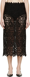 Valentino Black Brocade Mesh And Lace Sheer Midi Skirt