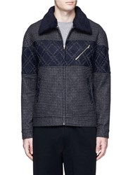 The World Is Your Oyster Removable Collar Diamond Insert Blouson Jacket Grey Multi Colour