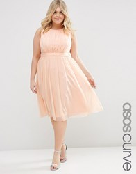 Asos Curve Midi Dress With Ruched Mesh Pink