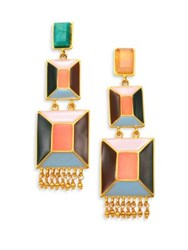 Paula Mendoza Faceted Emerald Pink Quartz And Enamel Drop Earrings Gold Multi