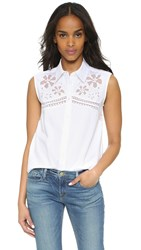Equipment Reese Sleeveless Floral Embroidered Shirt Bright White