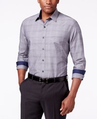Tasso Elba Men's Plaid Chambray Long Sleeve Shirt Classic Fit Grey Combo