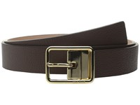 Cole Haan 1 4 Reversible Pebble Leather Belt With Centerbar Buckle Chestnut Maple Sugar Women's Belts