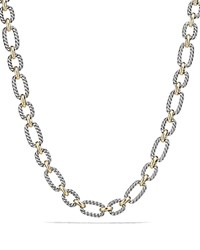 David Yurman Cushion Chain Link Necklace With Blue Sapphires And 18K Gold Silver Gold