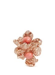Anabela Chan 'Blossom Coral' Diamond Pave 18K Rose Gold Flower Ring Pink Metallic