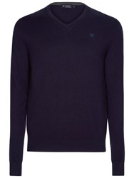 Hackett London Cotton Silk Cashmere V Neck Jumper Navy