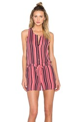 Stateside Vertical Navy Stripe Veil Tied Waist Sleeveless Romper Pink