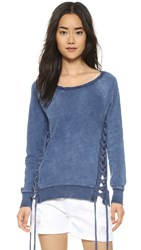 Pam And Gela Lace Up Sweatshirt Indigo Wash