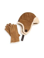 Ugg Two Piece Shearling Sheepskin Hat And Smart Leather Gloves Set Chestnut